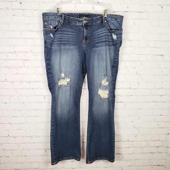 Torrid Medium Wash Distressed Bootcut Jeans 24